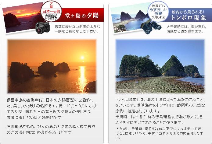 堂ヶ島の夕陽とトンボロ現象の説明画像